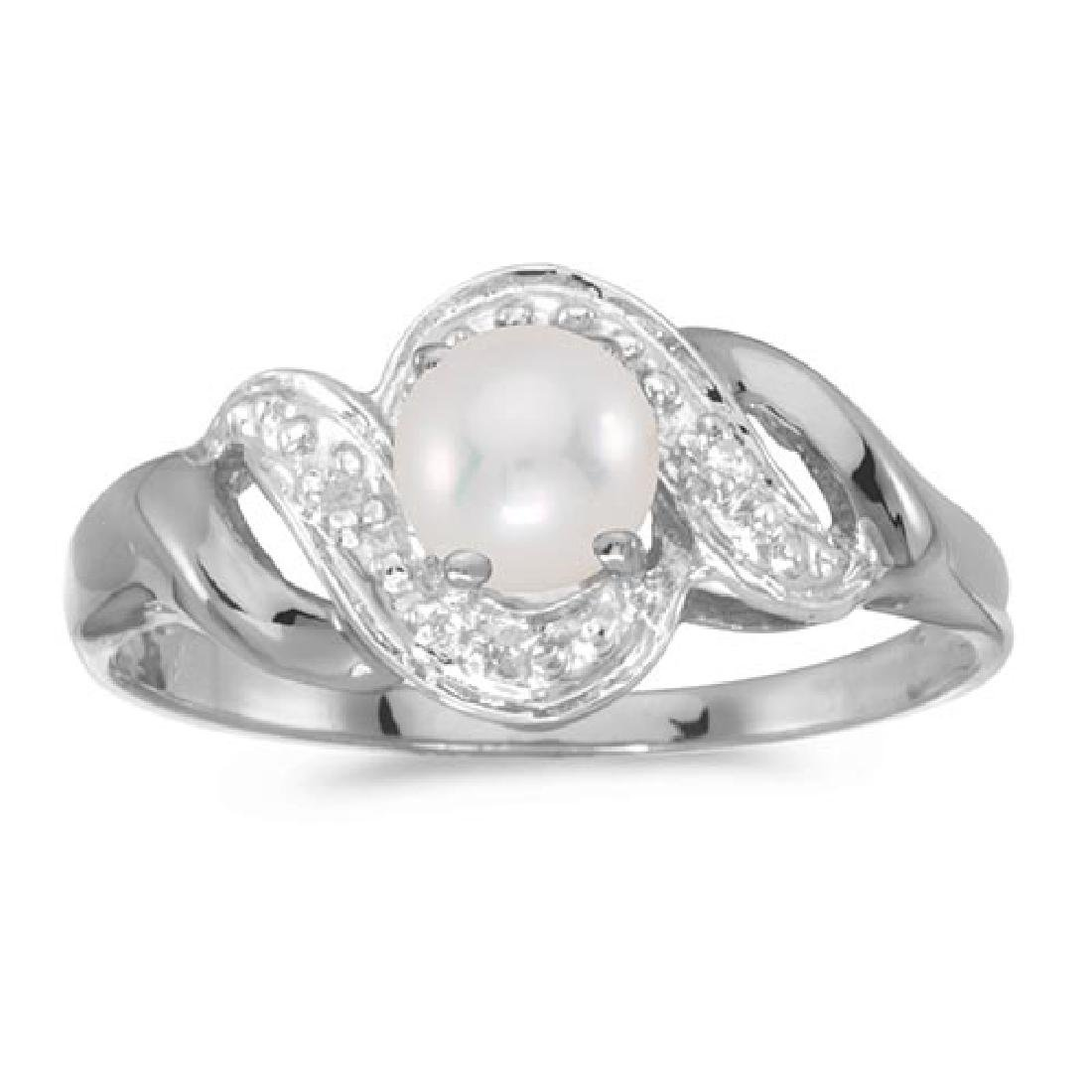 Certified 14k White Gold Pearl And Diamond Swirl Ring