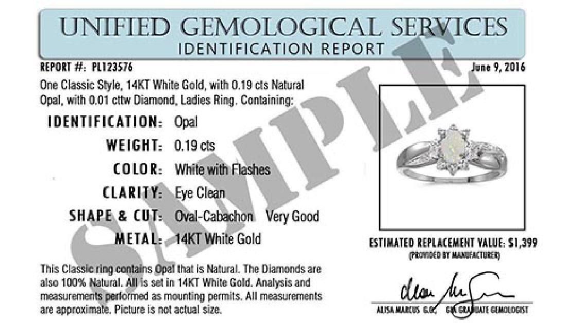 Certified 10k White Gold Oval Aquamarine And Diamond Ri - 2