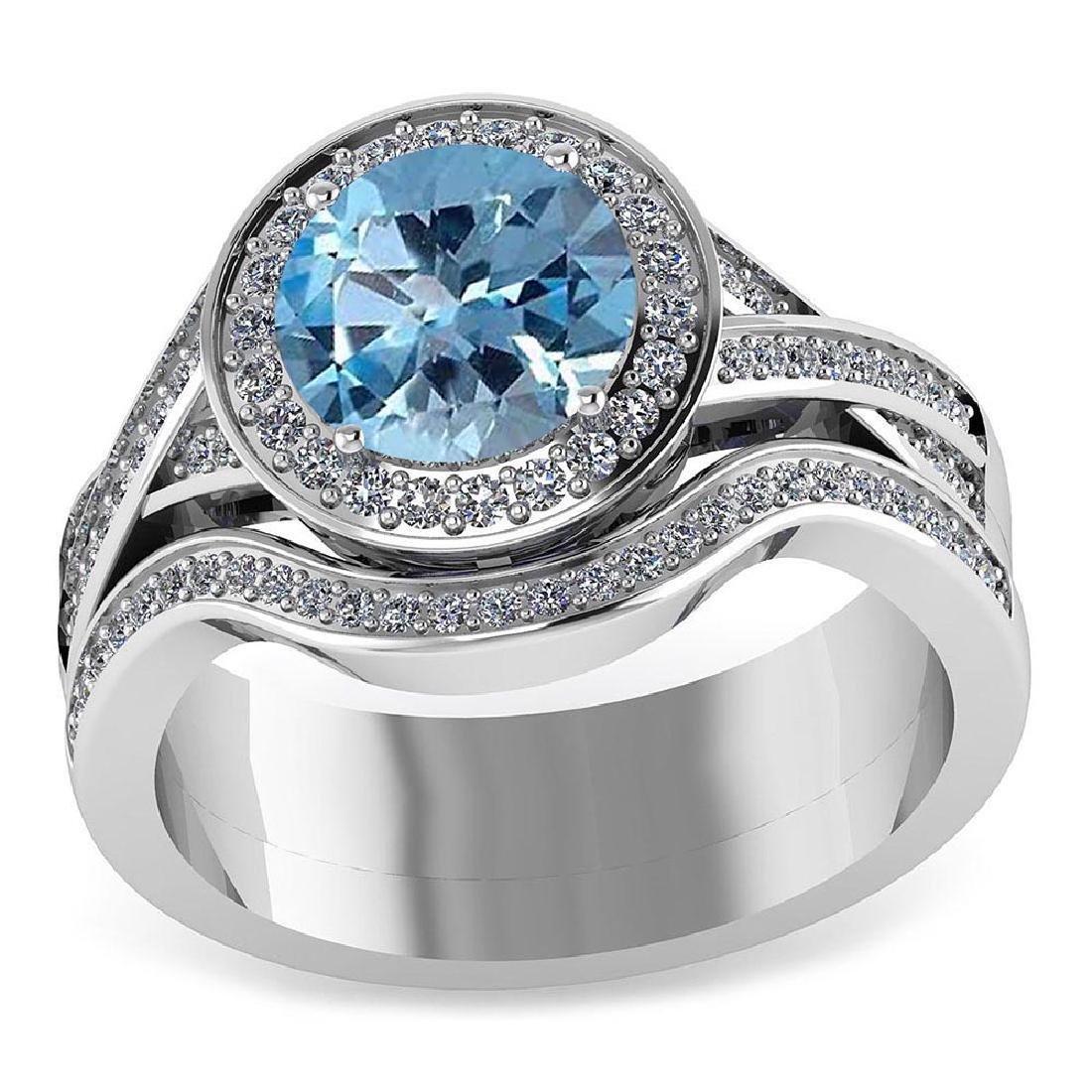Certified 2.15 CTW Genuine Aquamarine And Diamond 14K W