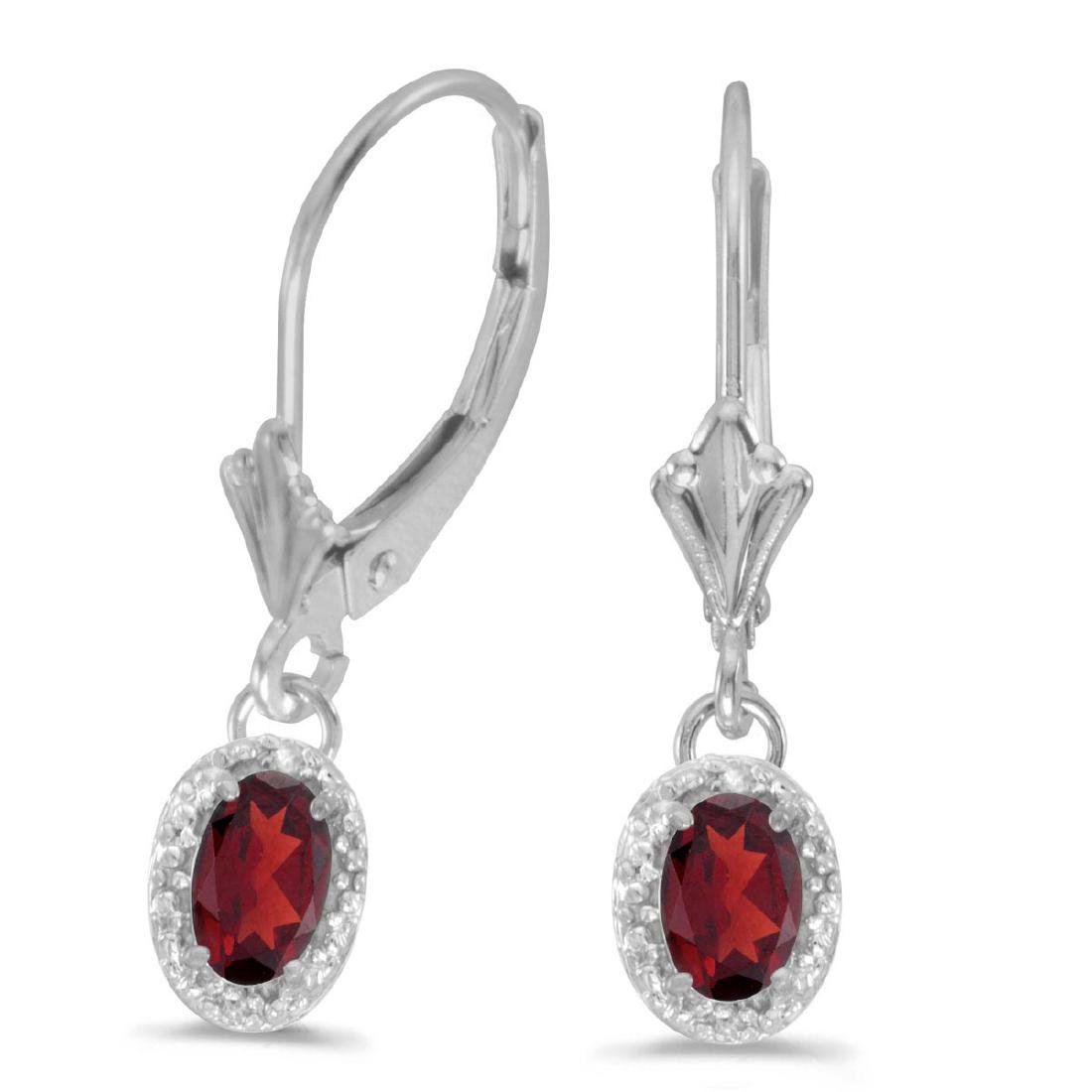 Certified 14k White Gold Oval Garnet And Diamond Leverb
