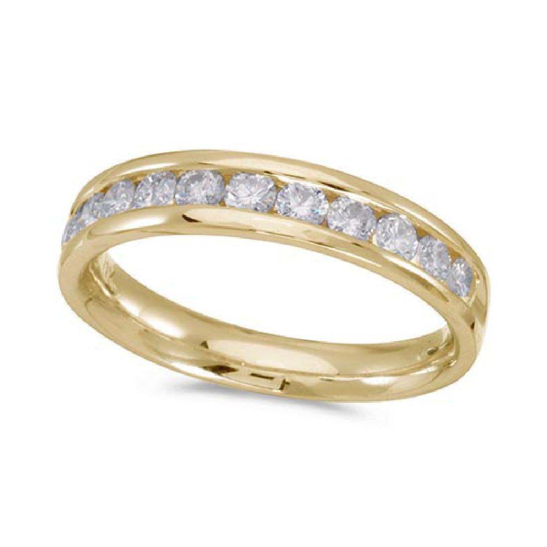 Certified 14K Yellow Gold Diamond Diamond Band Ring