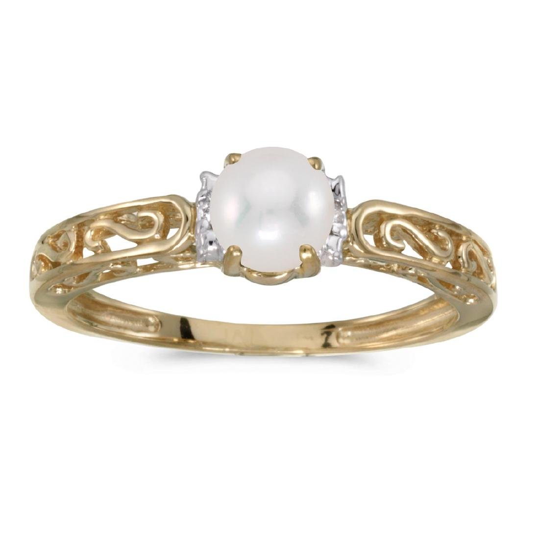 Certified 10k Yellow Gold Pearl And Diamond Ring 0.01 C