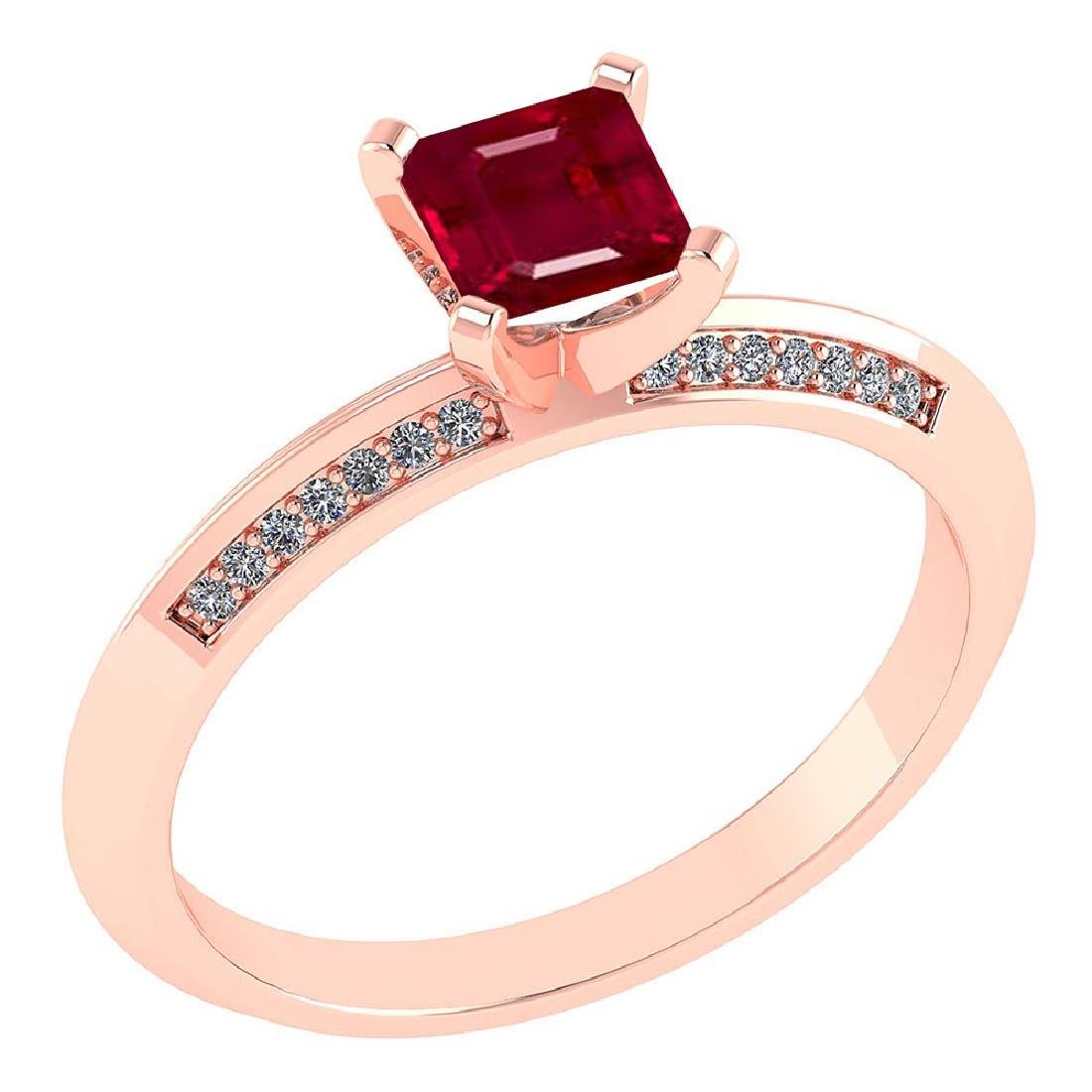 Certified .89 CTW Genuine Ruby And Diamond 14K Rose Gol