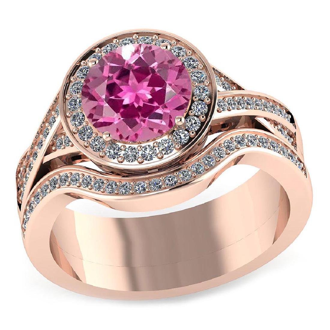 Certified 2.25 CTW Genuine Pink Tourmaline And Diamond