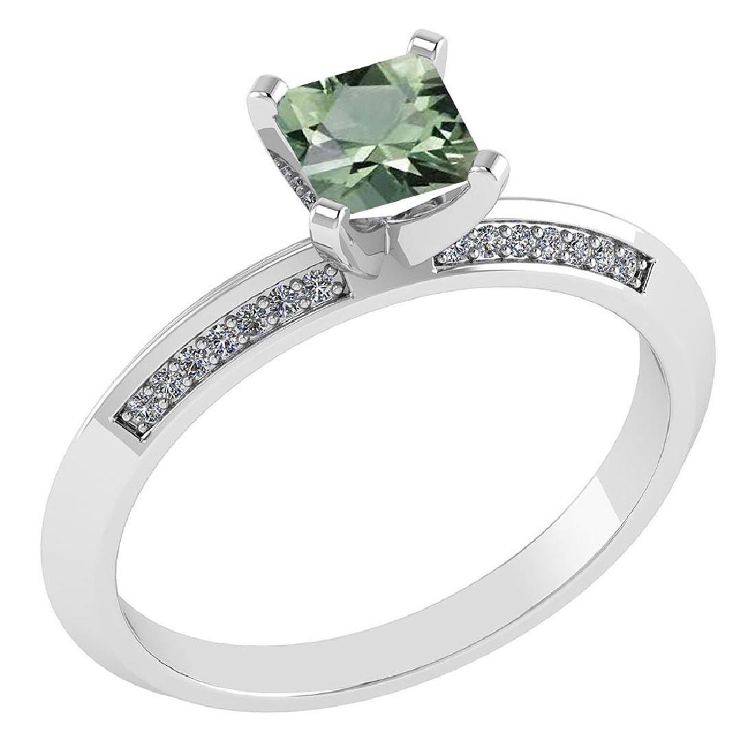 Certified .89 CTW Genuine Green Amethyst And Diamond 14