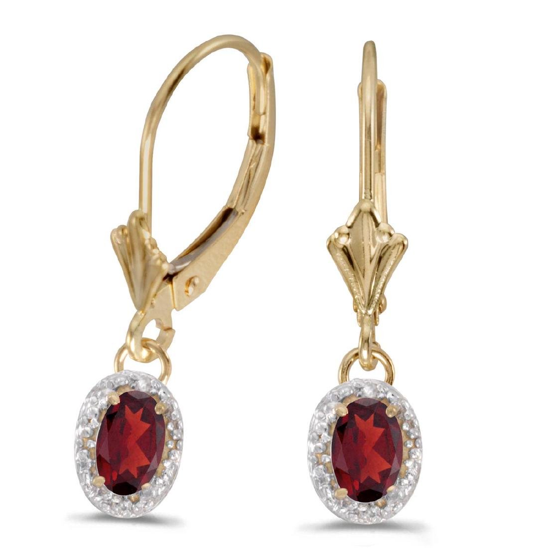 Certified 14k Yellow Gold Oval Garnet And Diamond Lever