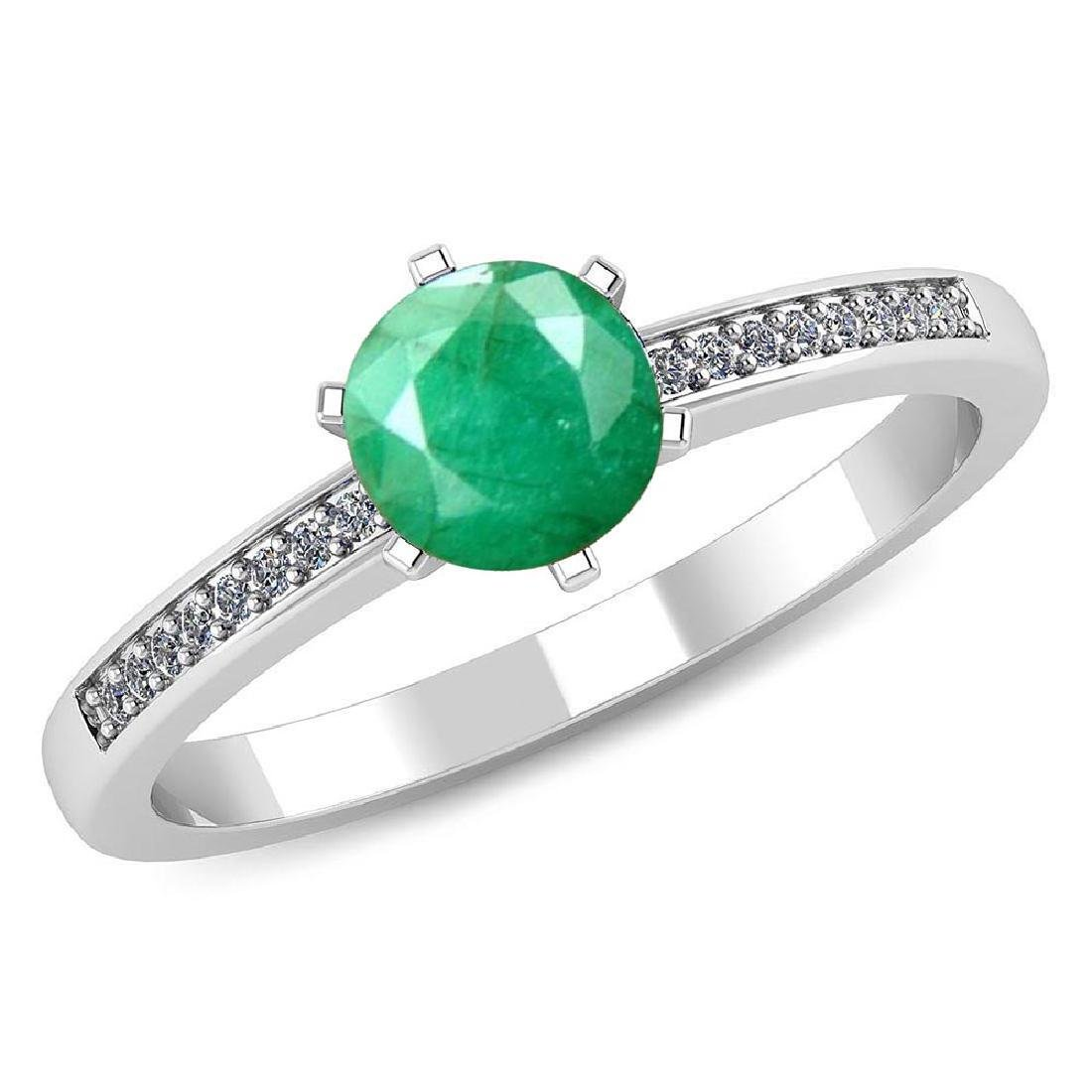 Certified 1.00 CTW Genuine Emerald And Diamond 14K Whit