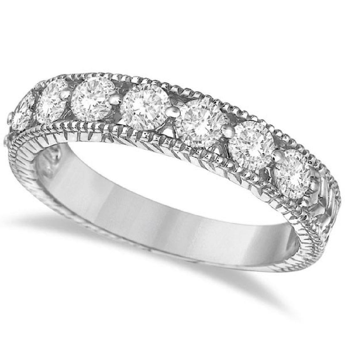 Antique Scrollwork Diamond Wedding Ring Band 14k White