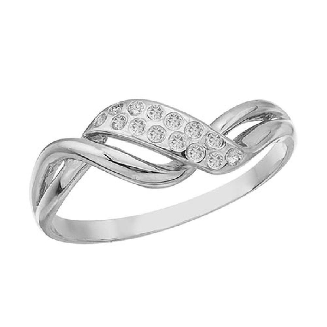 Certified 14K White Gold and Diamond Promise Ring