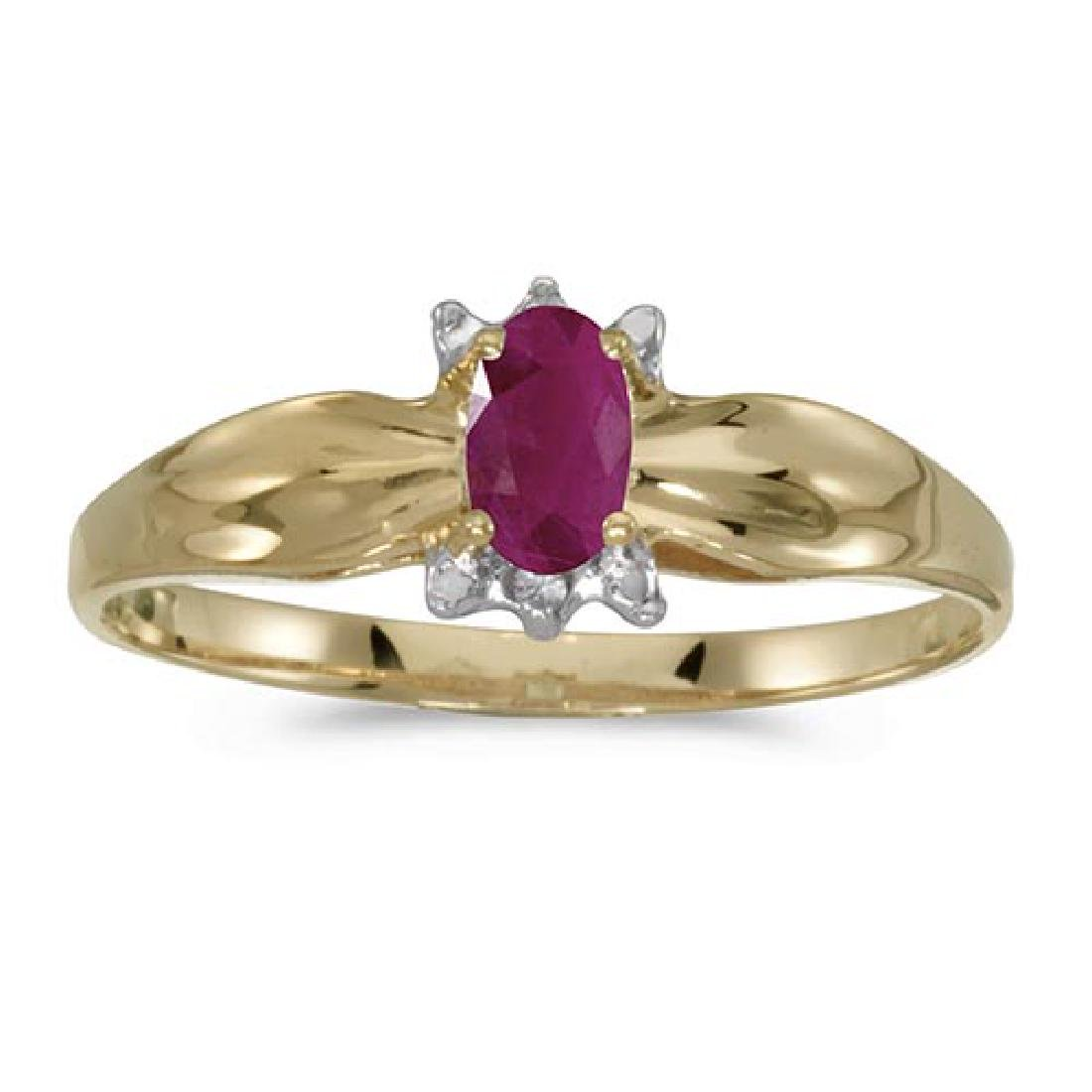 Certified 14k Yellow Gold Oval Ruby And Diamond Ring