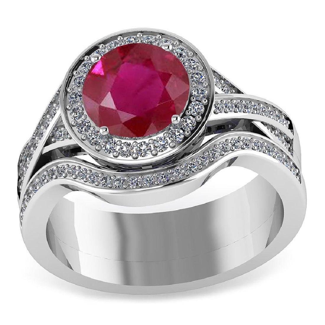 Certified 1.95 CTW Genuine Ruby And Diamond 14K White G