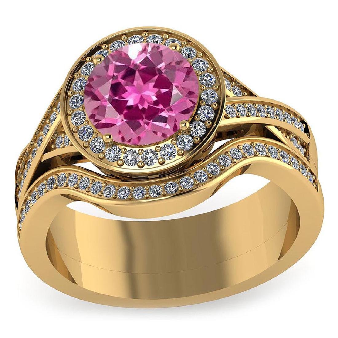 Certified 2.25 CTW Genuine Pink Tourmaline And Diamond