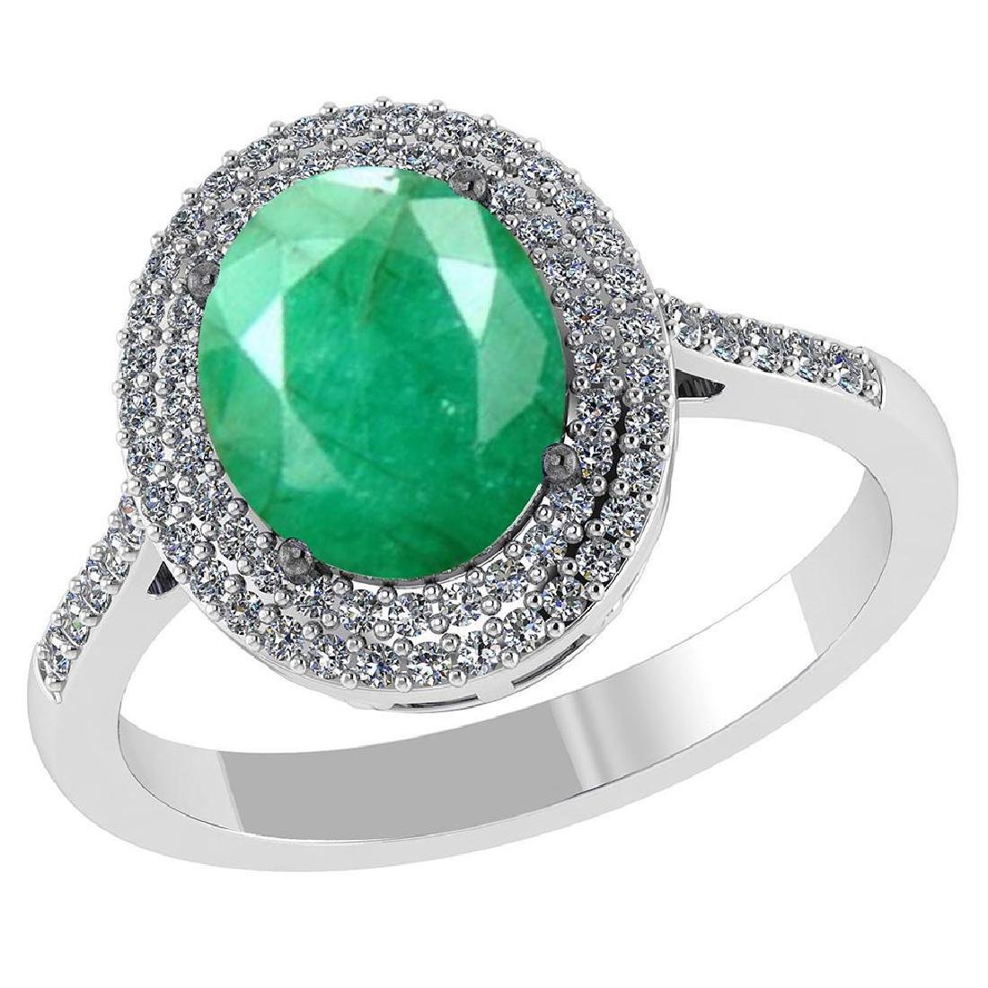 Certified 3.2 CTW Genuine Emerald And Diamond 14K White