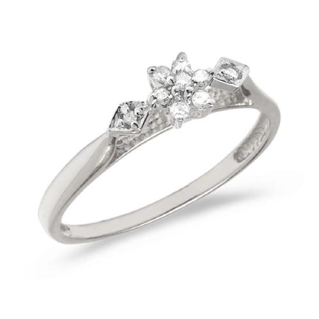 Certified 14K White Gold Diamond Cluster Ring