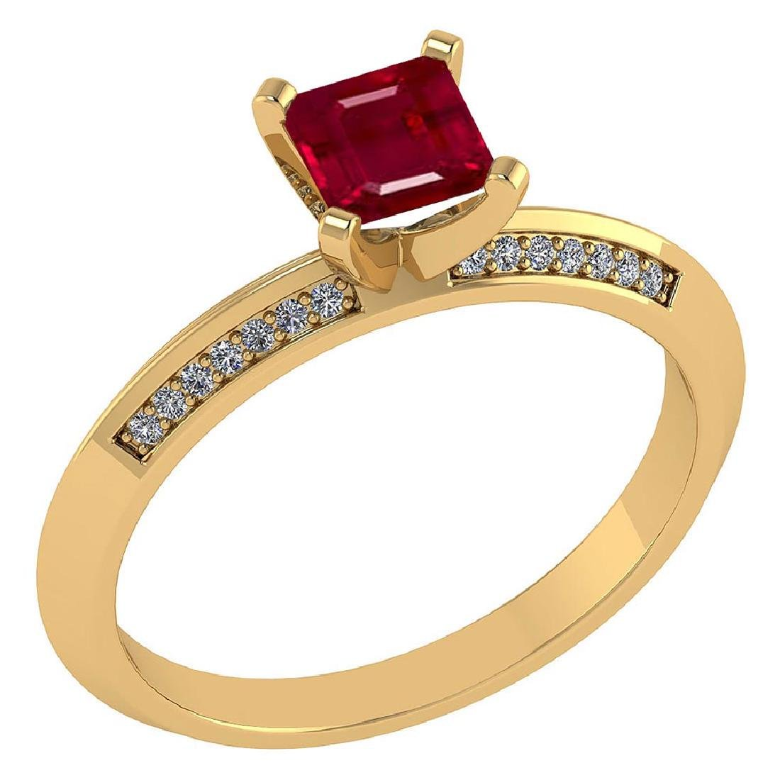 Certified .89 CTW Genuine Ruby And Diamond 14K Yellow G