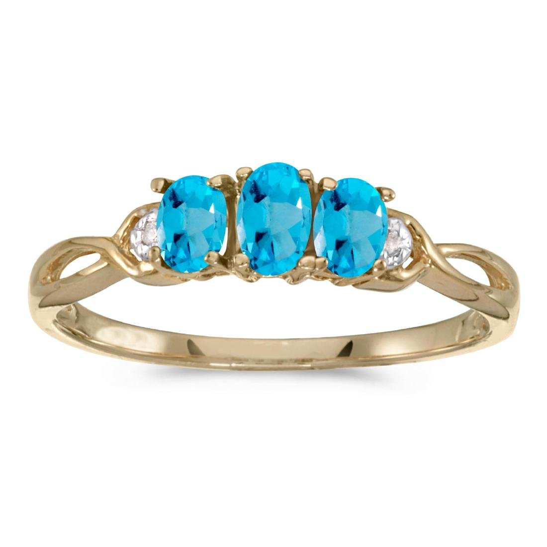 Certified 10k Yellow Gold Oval Blue Topaz And Diamond T