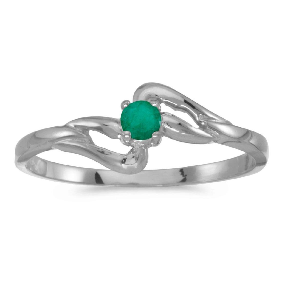 Certified 10k White Gold Round Emerald Ring 0.09 CTW