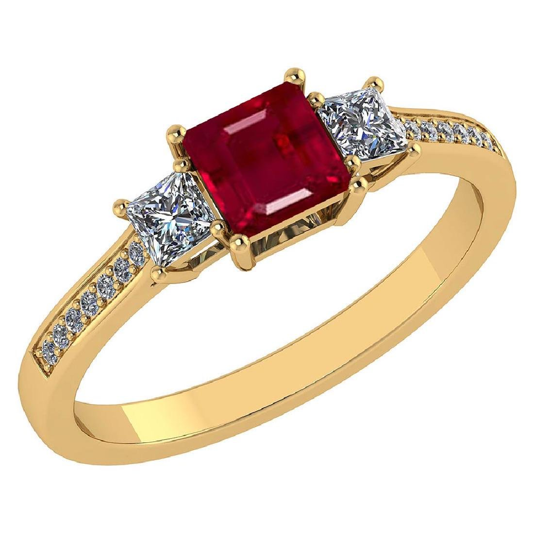 Certified 1.18 CTW Genuine Ruby And Diamond 14K Yellow