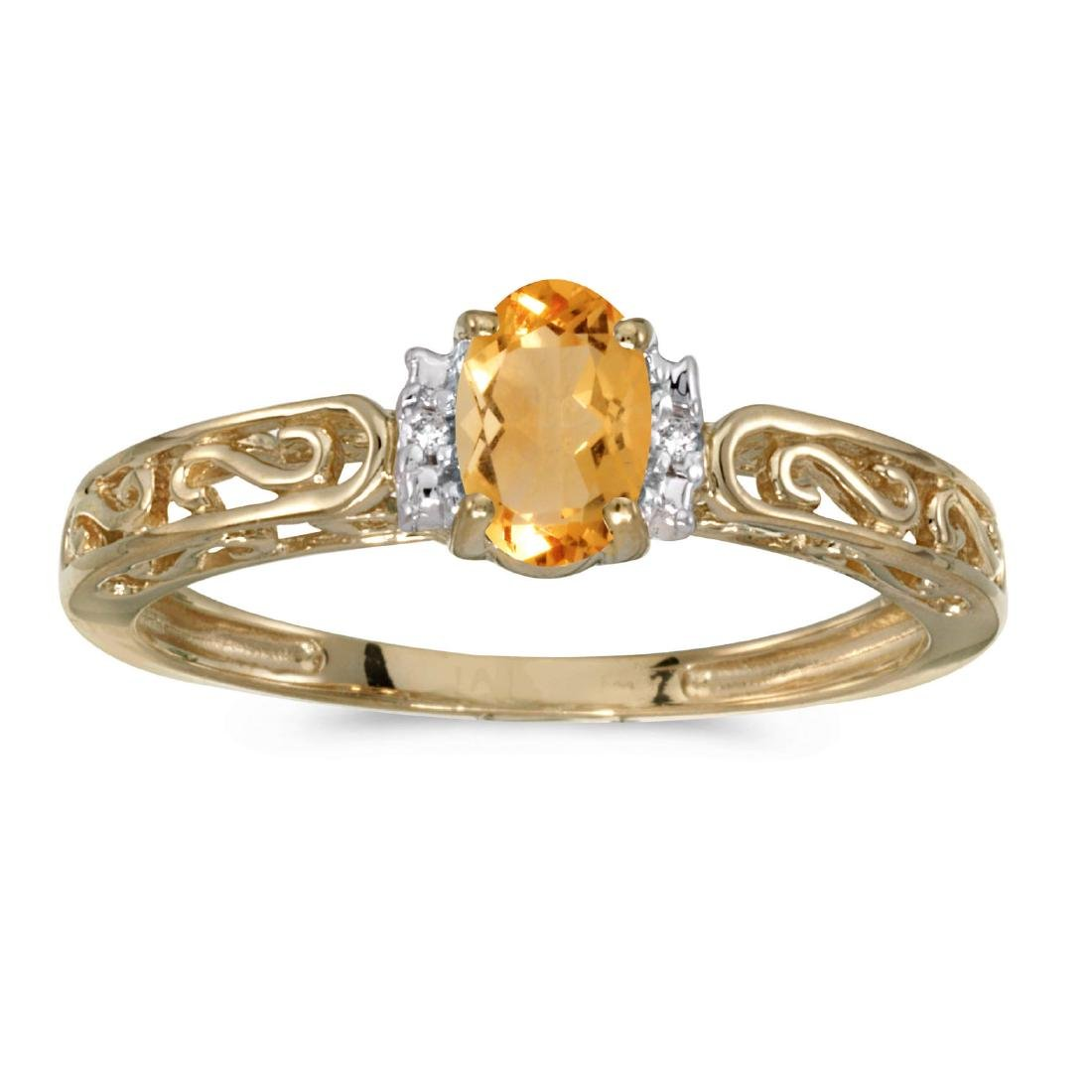 Certified 10k Yellow Gold Oval Citrine And Diamond Ring