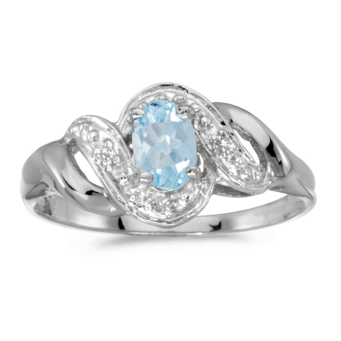 Certified 10k White Gold Oval Aquamarine And Diamond Sw