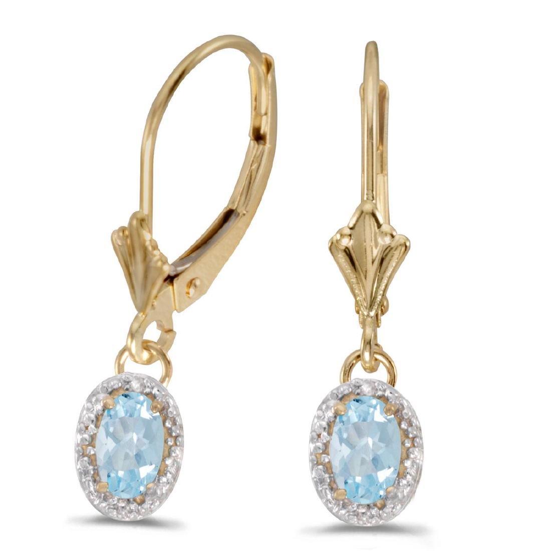 Certified 14k Yellow Gold Oval Aquamarine And Diamond L
