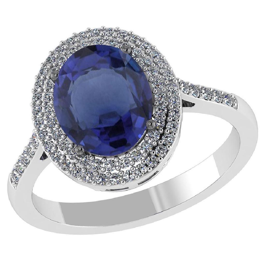 Certified 2.82 CTW Genuine Blue Sapphire And Diamond 14