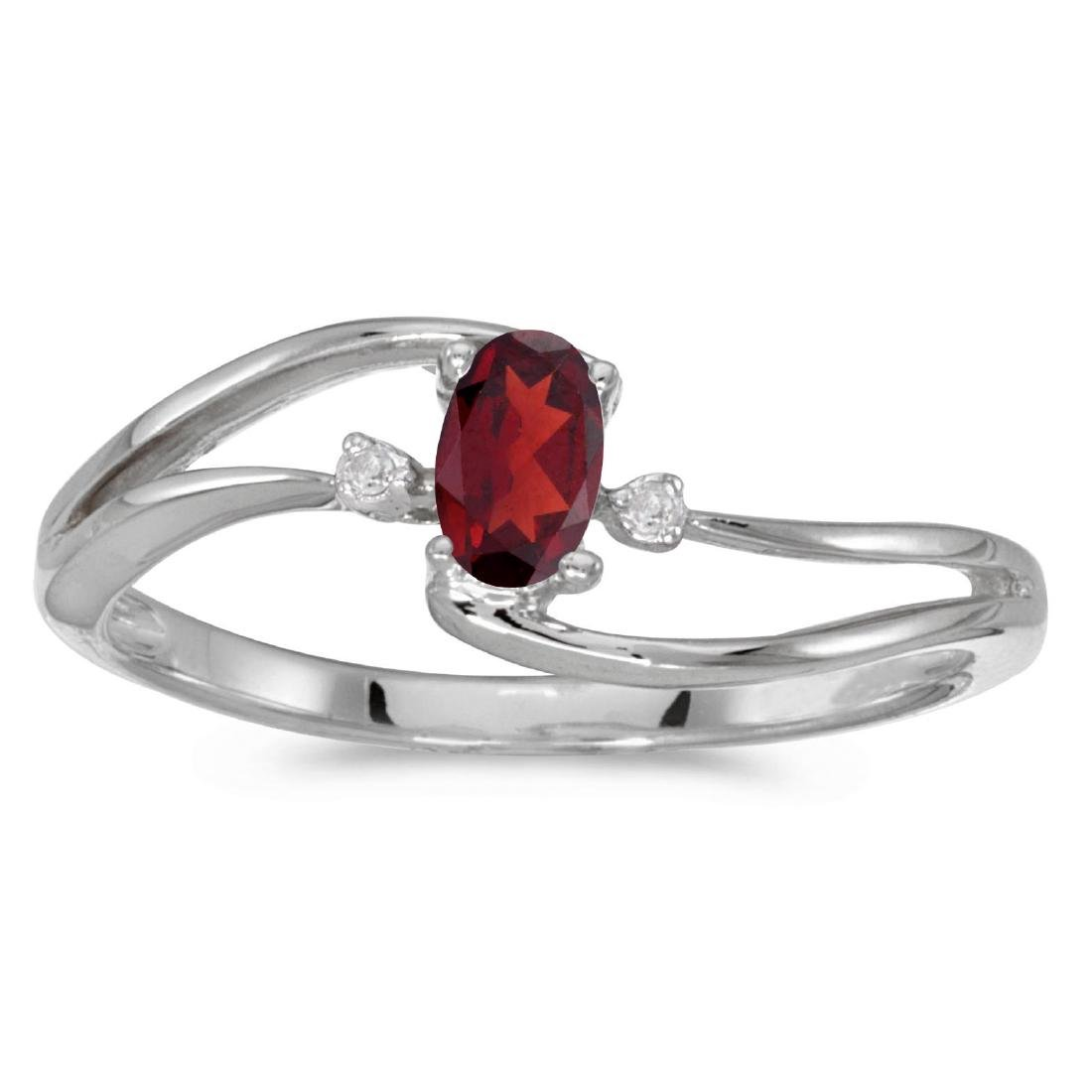 Certified 10k White Gold Oval Garnet And Diamond Wave R