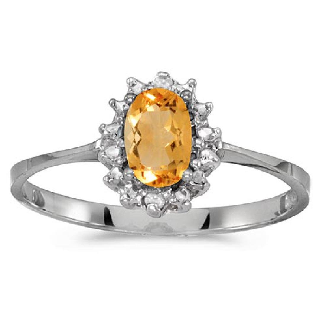 Certified 10k White Gold Oval Citrine And Diamond Ring