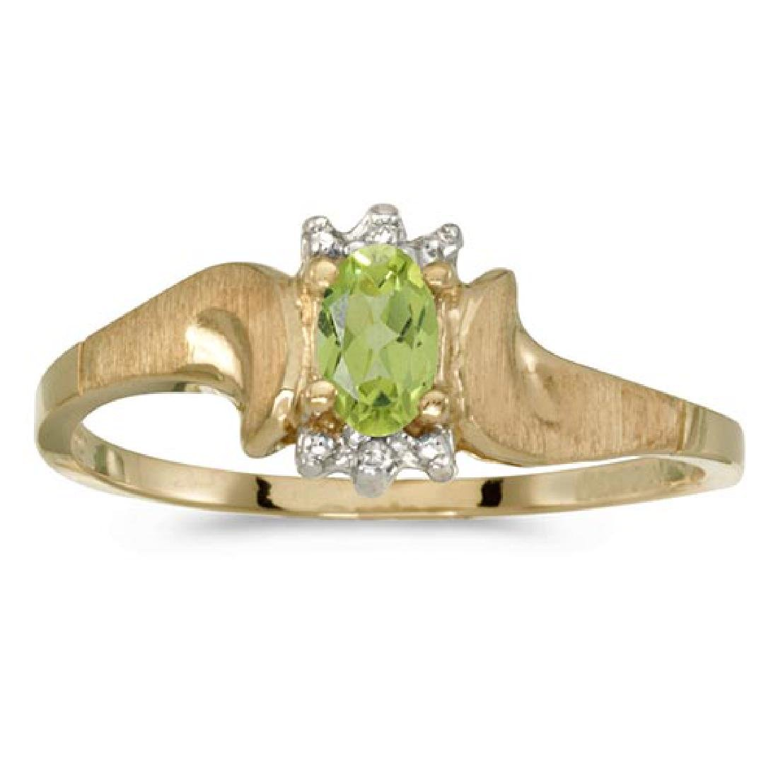 Certified 14k Yellow Gold Oval Peridot And Diamond Sati