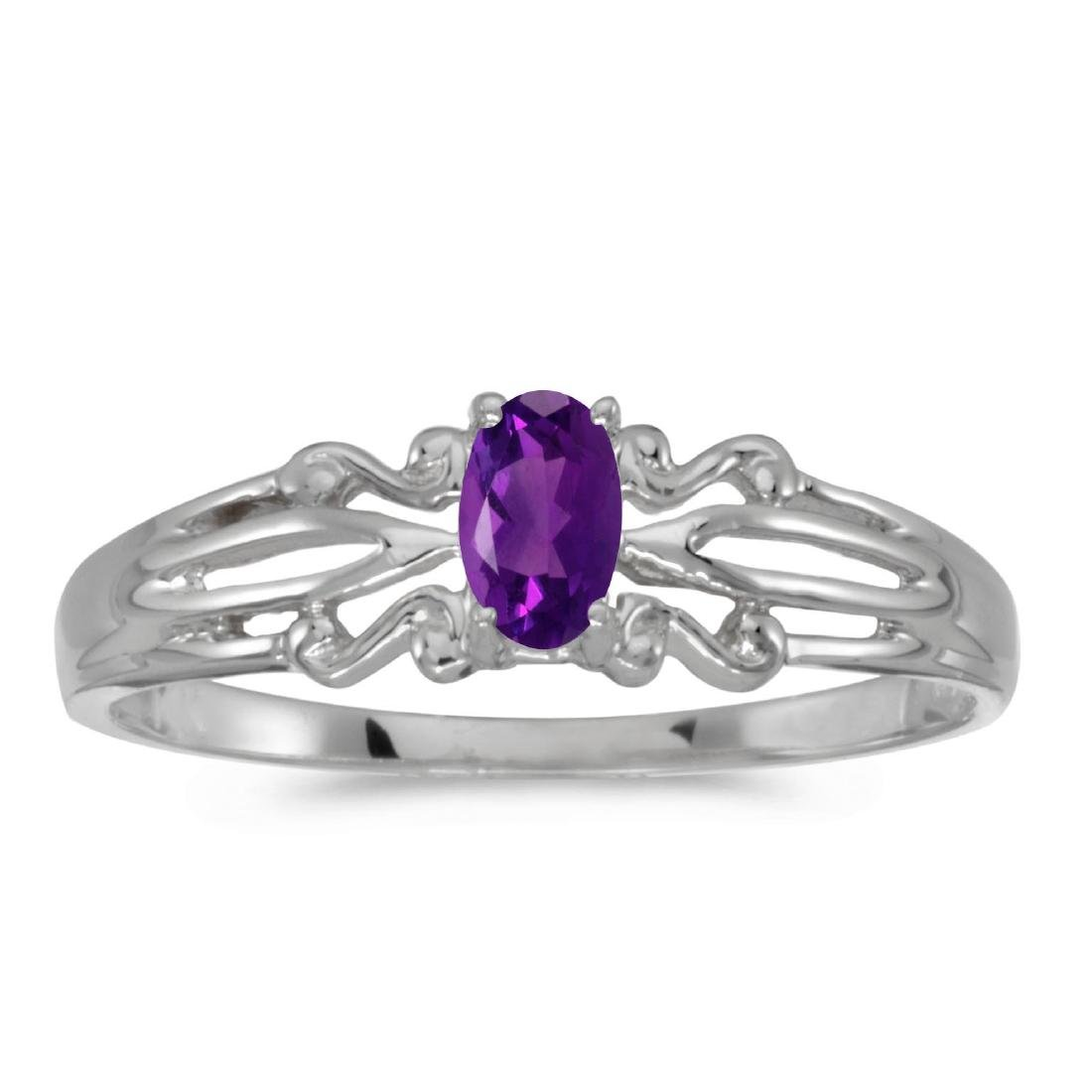 Certified 10k White Gold Oval Amethyst Ring 0.18 CTW