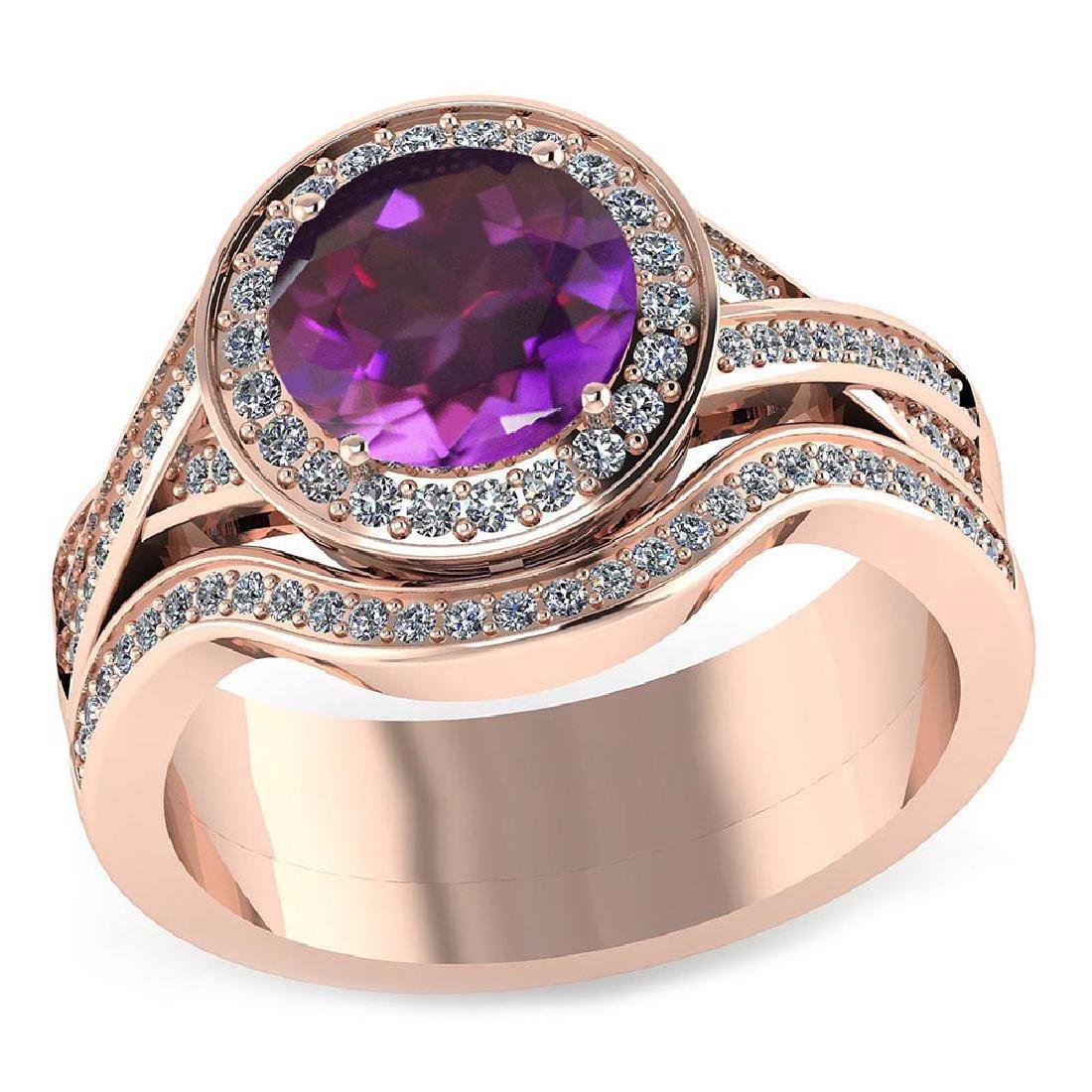 Certified 2.50 CTW Genuine Amethyst And Diamond 14K Ros