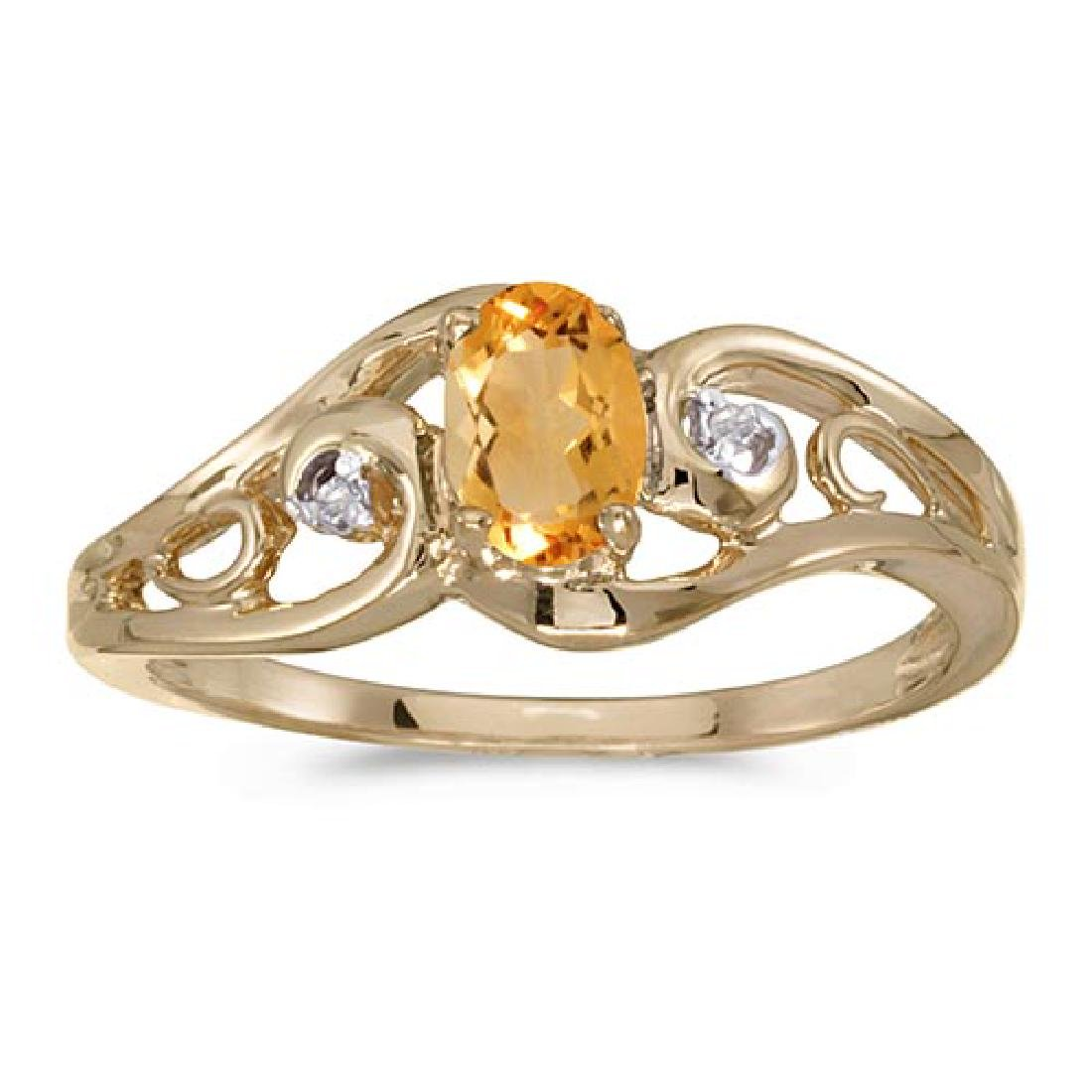 Certified 14k Yellow Gold Oval Citrine And Diamond Ring