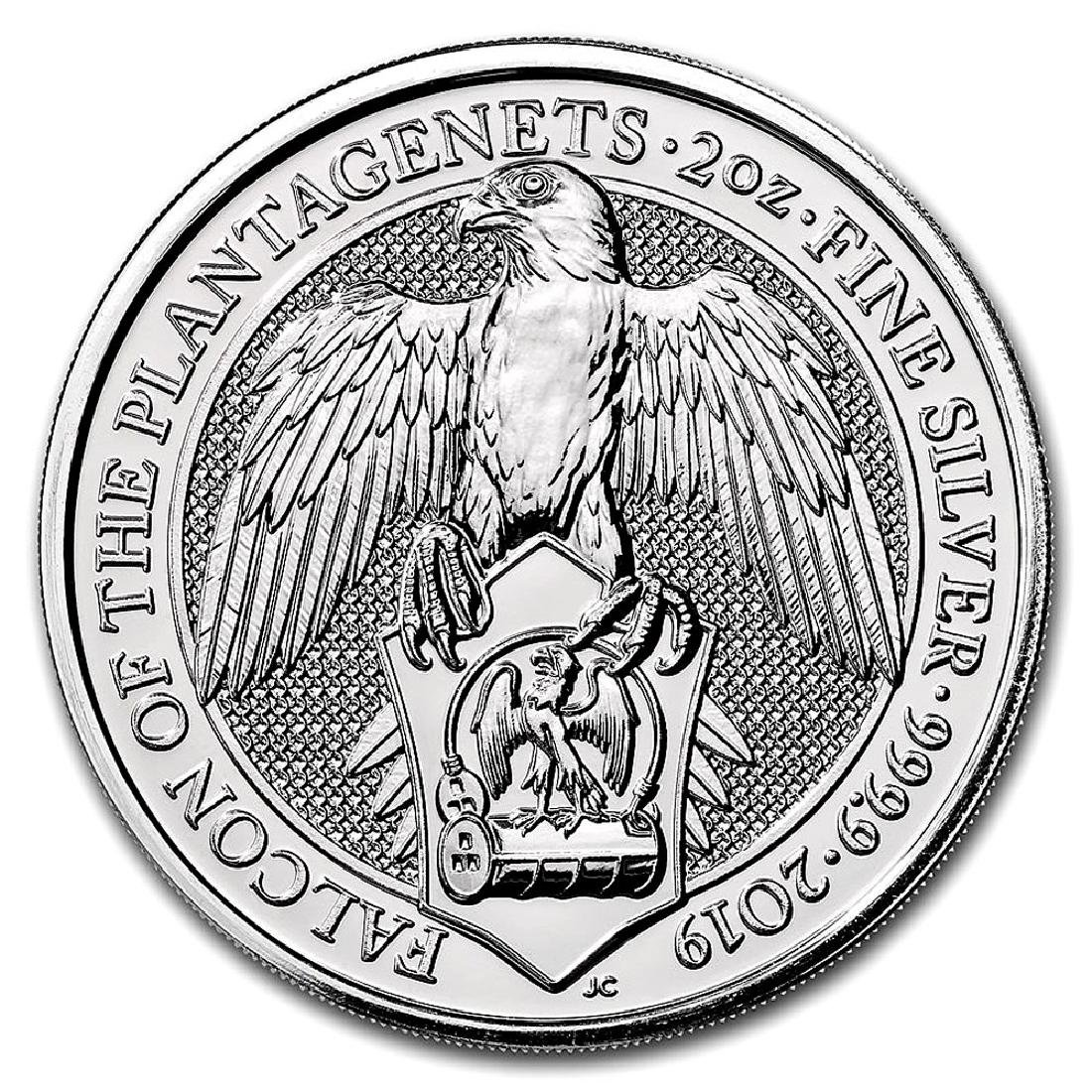 2019 2 oz British Silver Queen?s Beast Falcon Coin (BU)