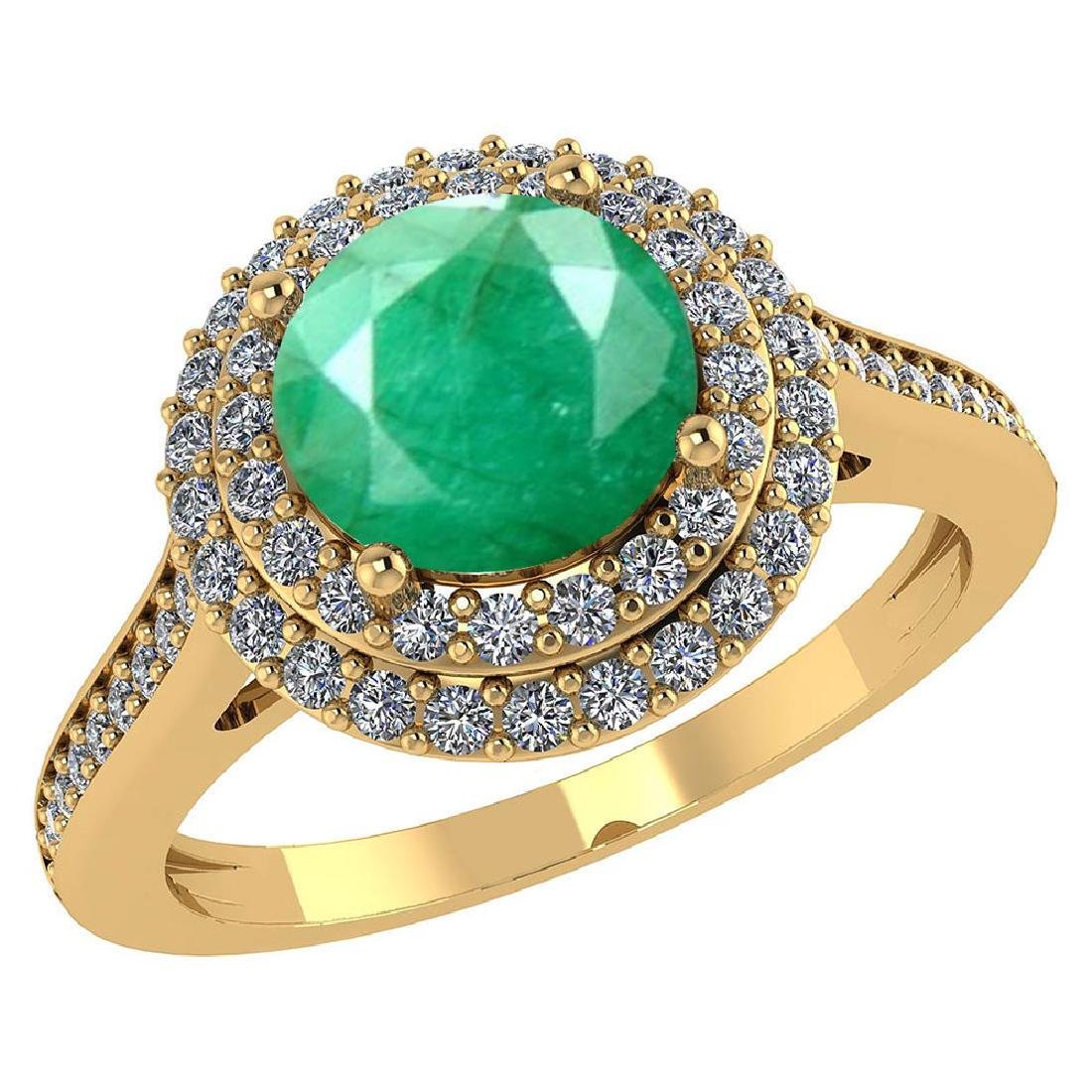 Certified 3.2 CTW Genuine Emerald And Diamond 14K Yello