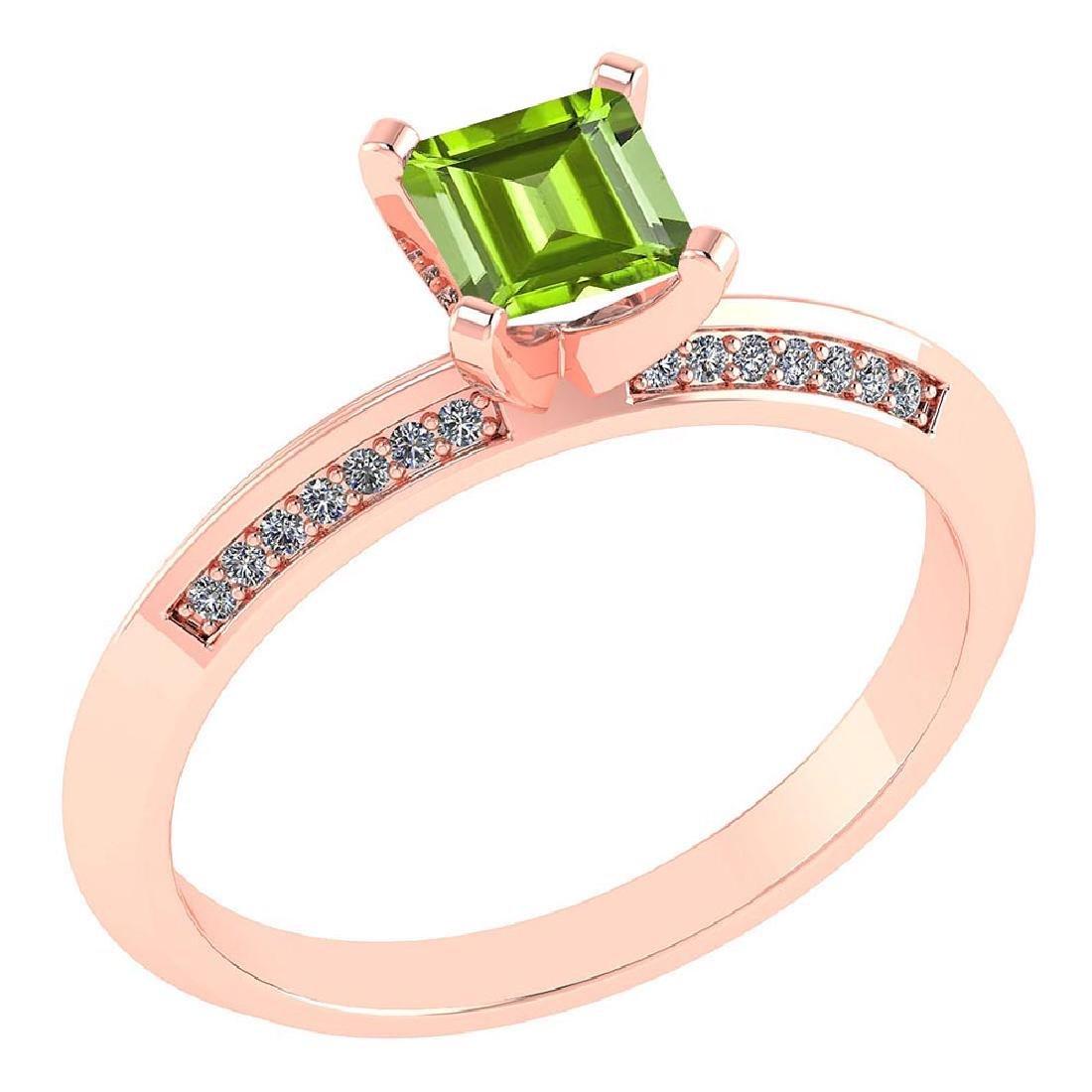 Certified .89 CTW Genuine Peridot And Diamond 14K Rose