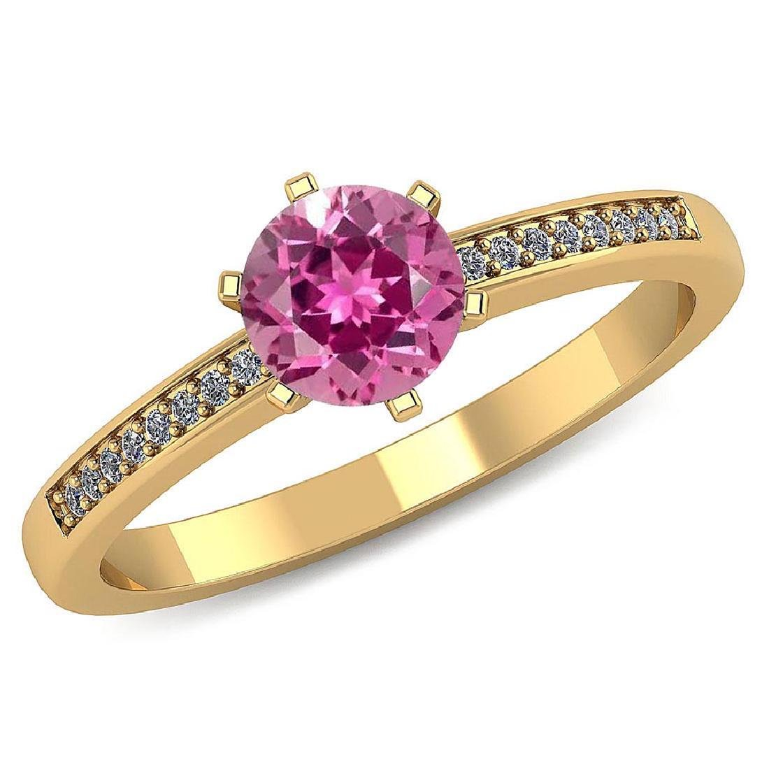 Certified 1.00 CTW Genuine Pink Tourmaline And Diamond