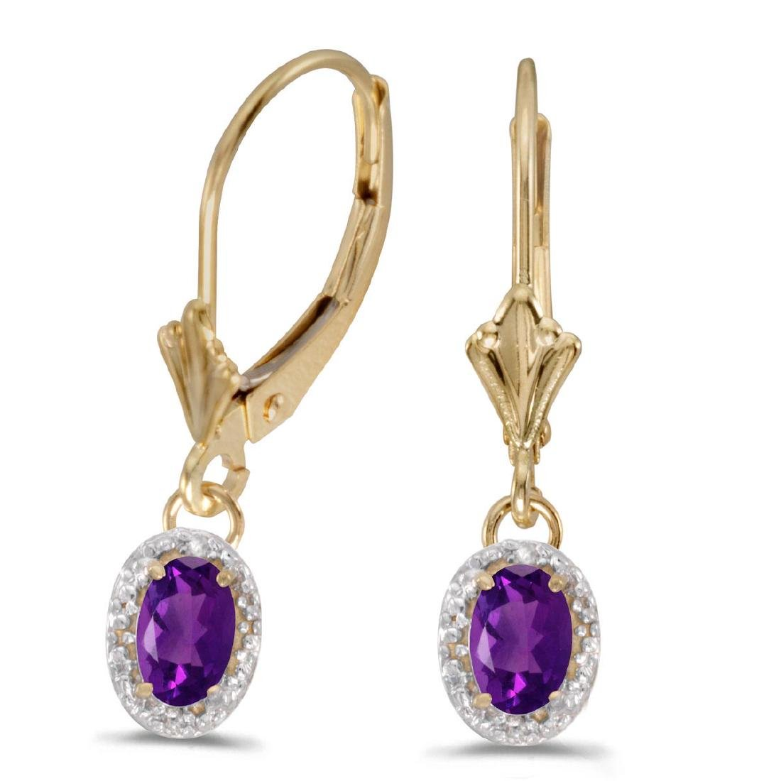 Certified 14k Yellow Gold Oval Amethyst And Diamond Lev