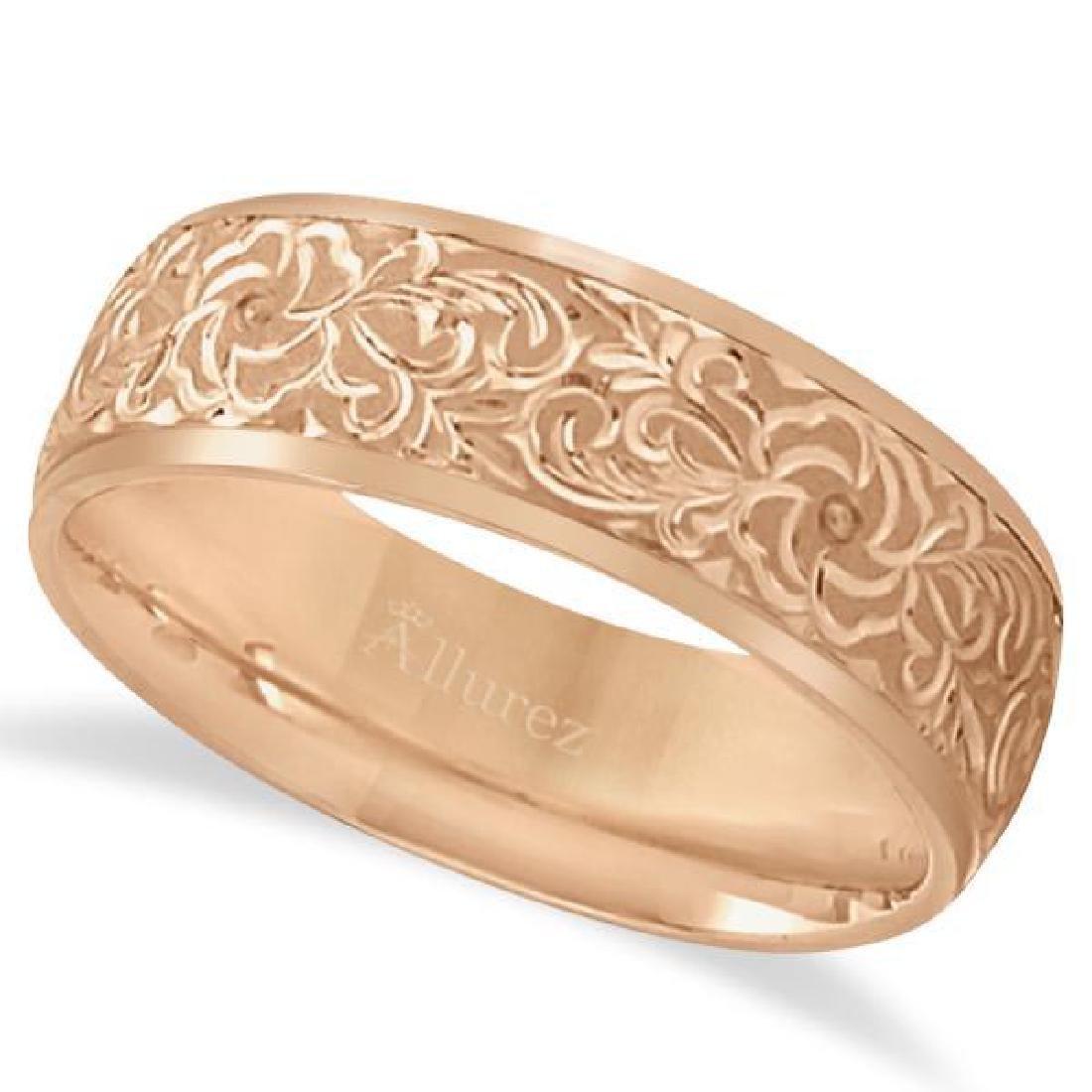 Hand-Engraved Flower Wedding Ring Wide Band 14k Rose Go