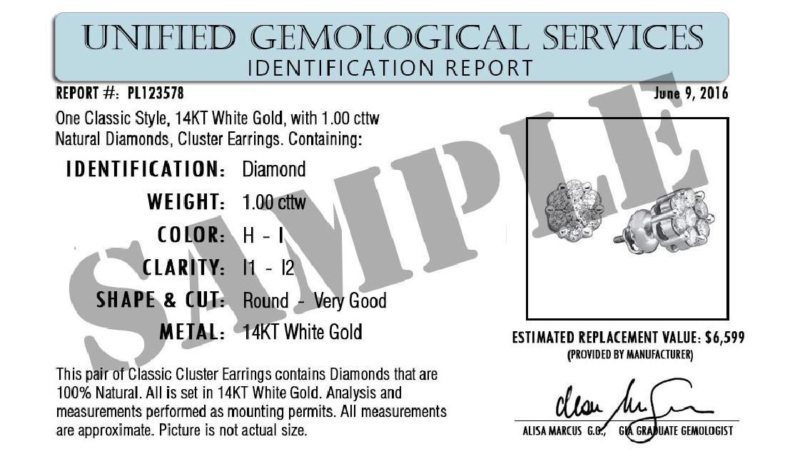 Certified 1 CTW Round Diamond Stud Earrings D/SI1 - 2
