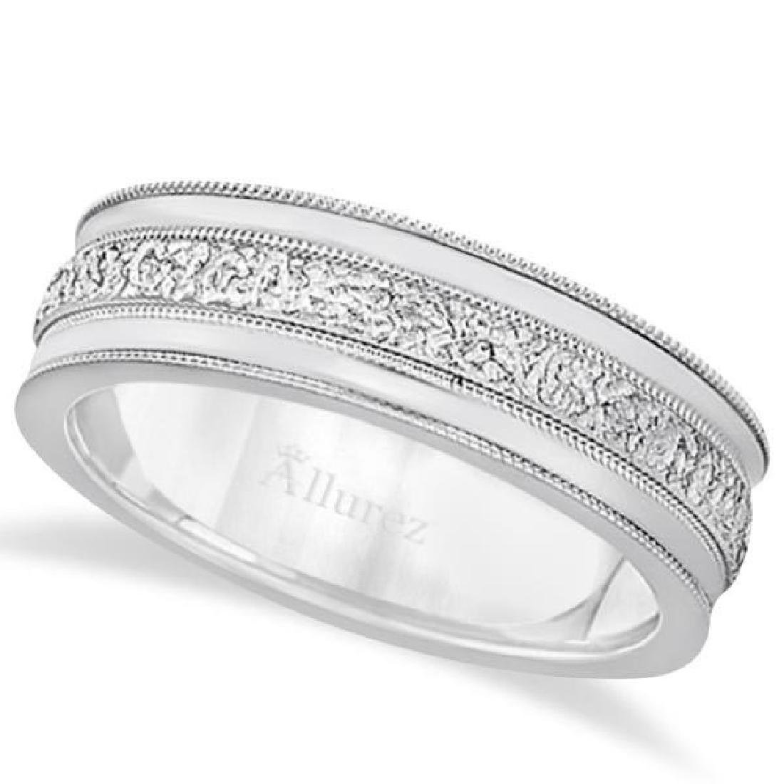 Carved Mens Wedding Ring Diamond Cut Band in Platinum
