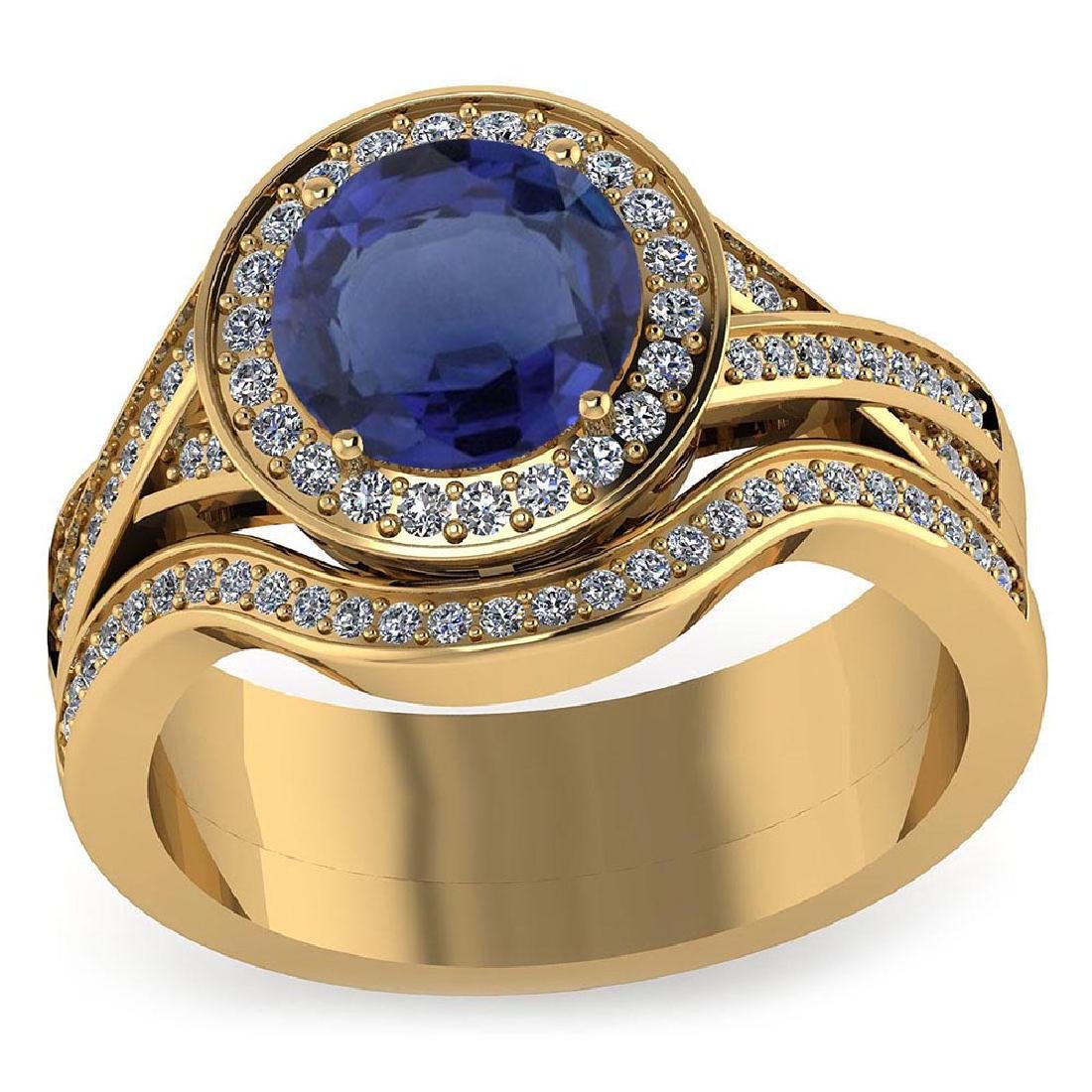 Certified 1.85 CTW Genuine Blue Sapphire And Diamond 14