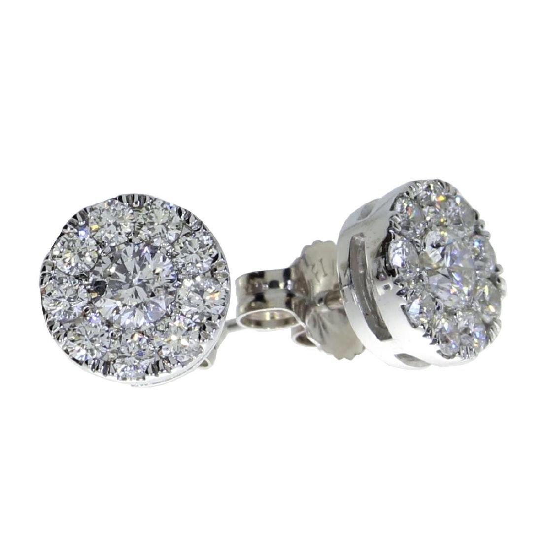 Certified 14K White Gold .75 ct Diamond Cluster Stud Ea
