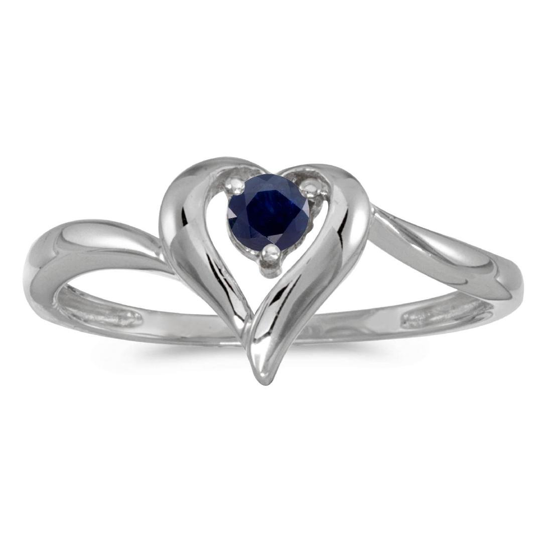 Certified 14k White Gold Round Sapphire Heart Ring 0.22