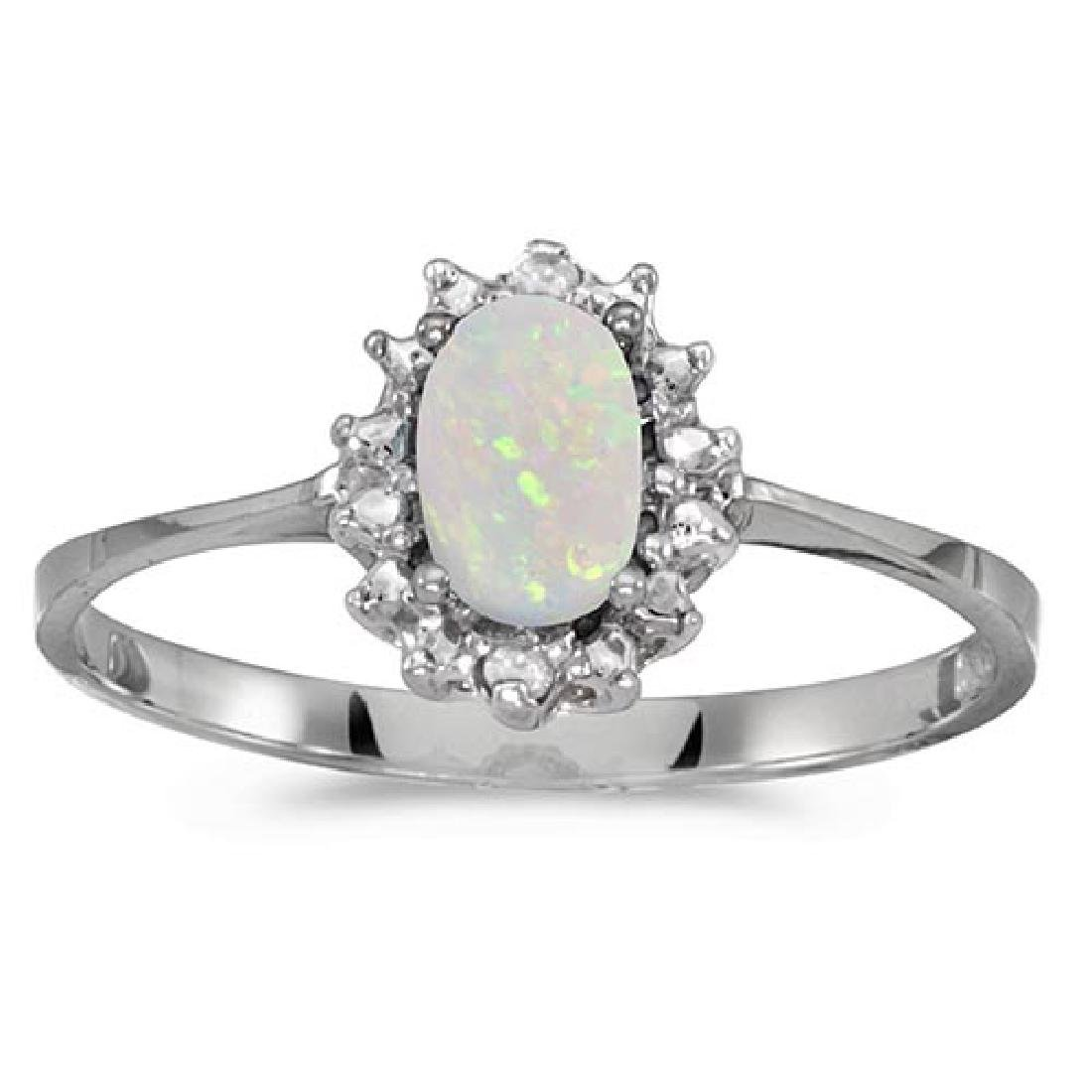 Certified 10k White Gold Oval Opal And Diamond Ring