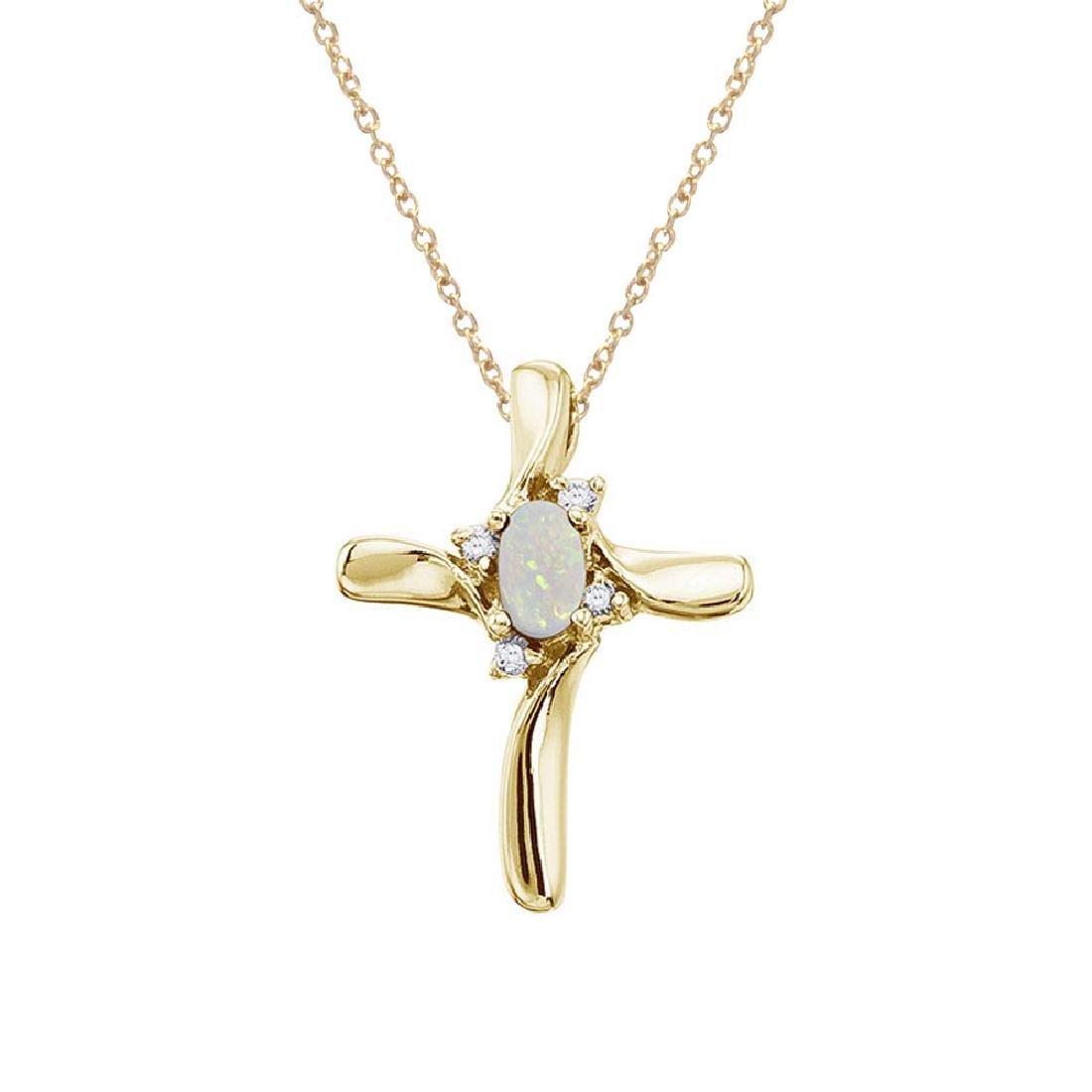 Certified 14K Yellow Gold Opal and Diamond Cross Pendan
