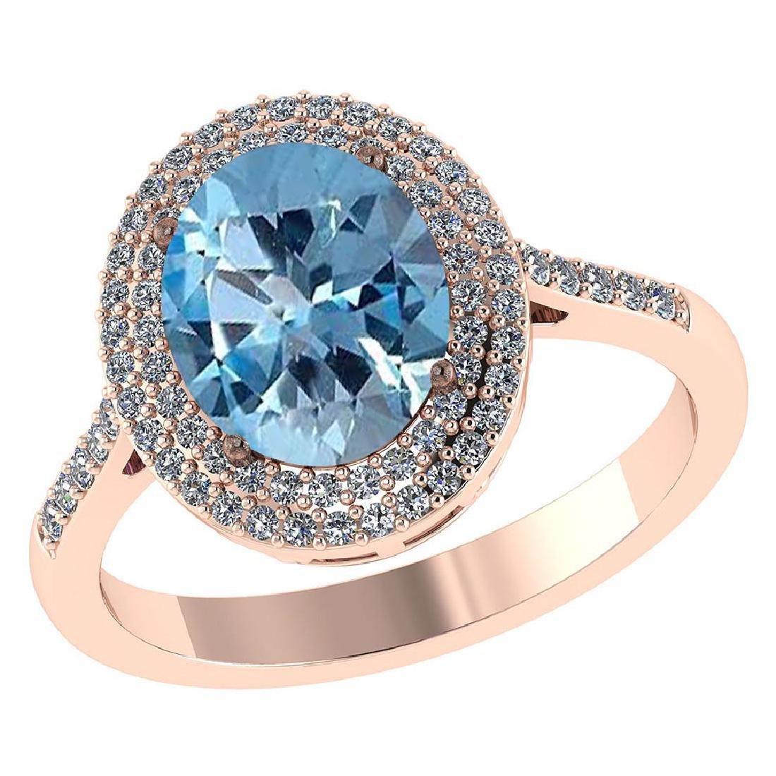 Certified 3.12 CTW Genuine Aquamarine And Diamond 14K R