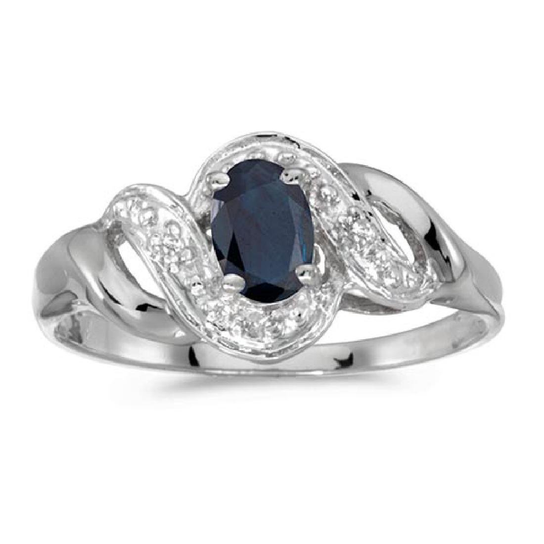 Certified 14k White Gold Oval Sapphire And Diamond Swir