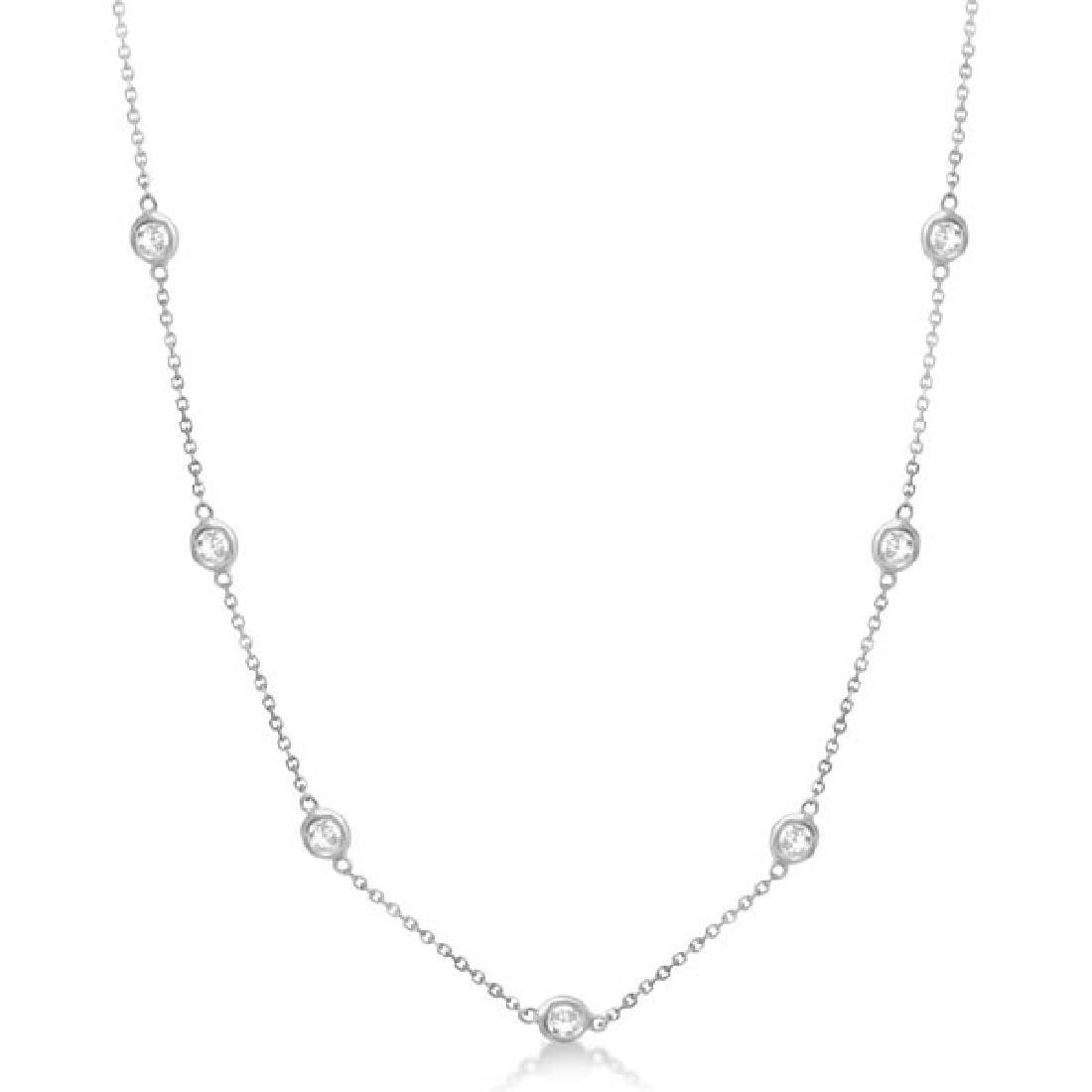 Diamond Station Necklace Bezel-Set 14K White Gold (1.50
