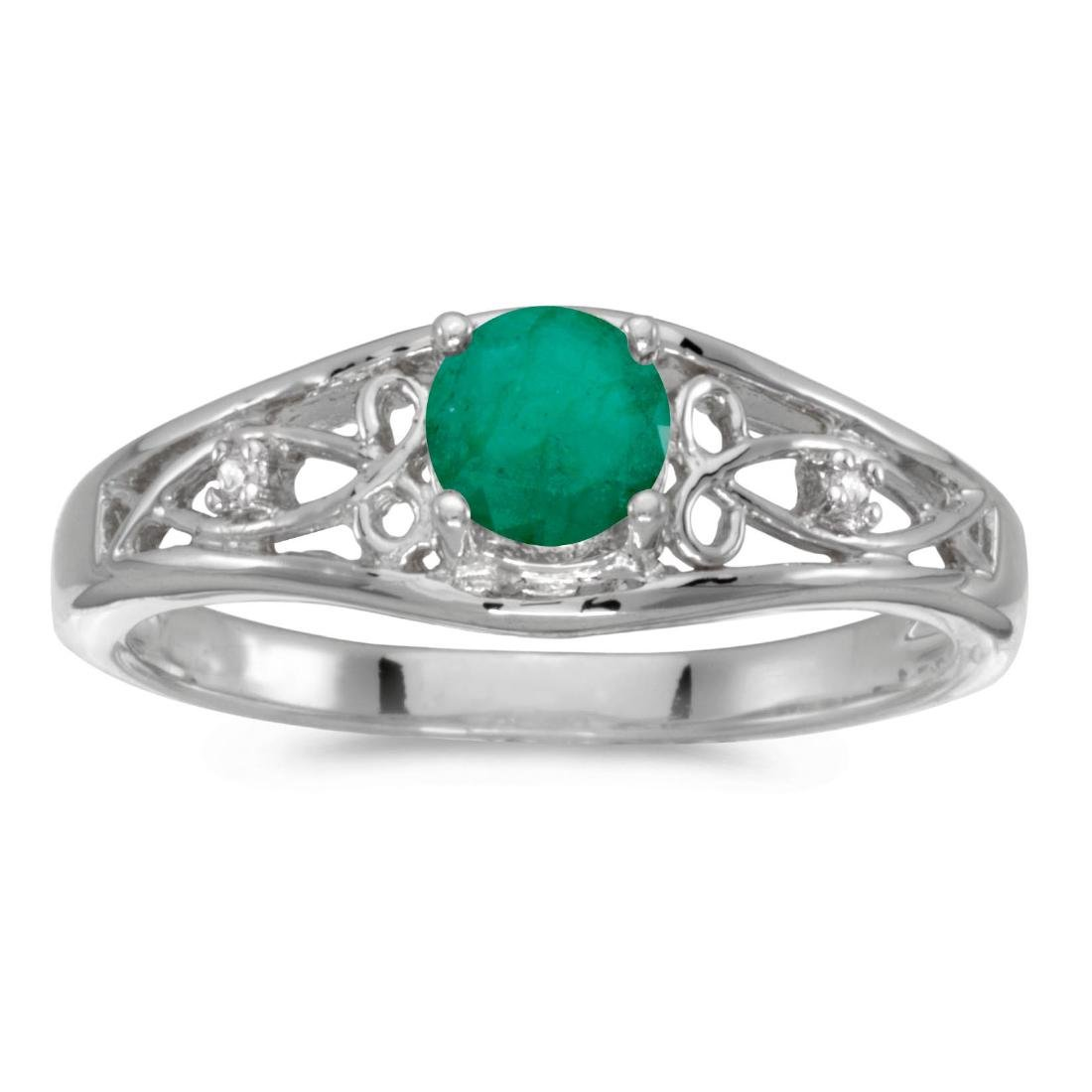 Certified 10k White Gold Round Emerald And Diamond Ring