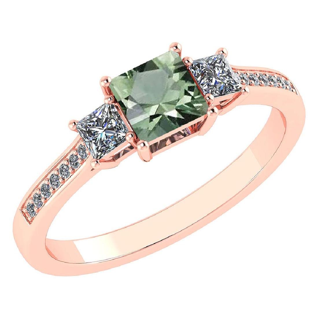 Certified 1.18 CTW Genuine Green Amethyst And Diamond 1